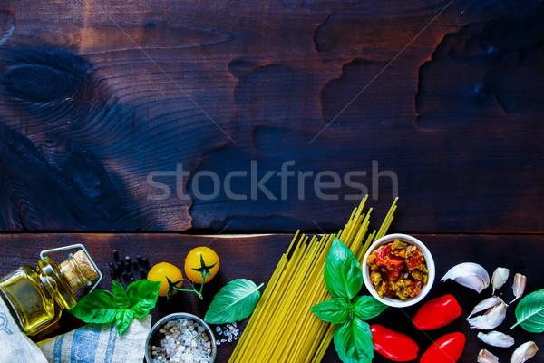 Ingredientes cozinhar macarrão velho Foto stock © YuliyaGontar