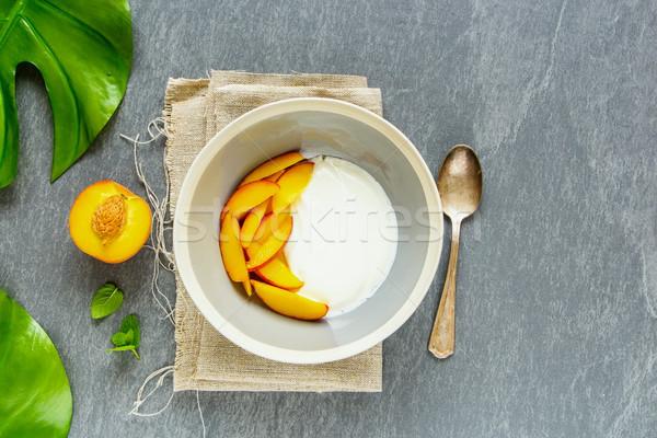 Yogurt and peach Stock photo © YuliyaGontar