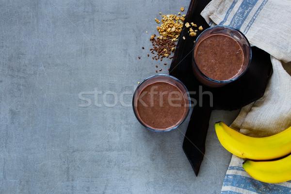 Czekolady bananów pochlebca nasion mleka Zdjęcia stock © YuliyaGontar