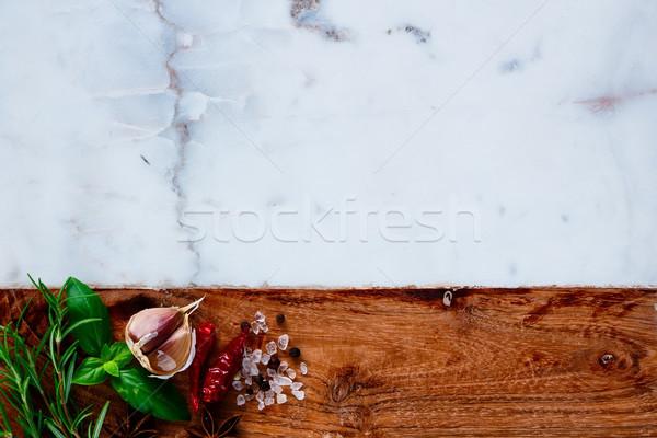 Hierbas especias alimentos frescos blanco mármol Foto stock © YuliyaGontar