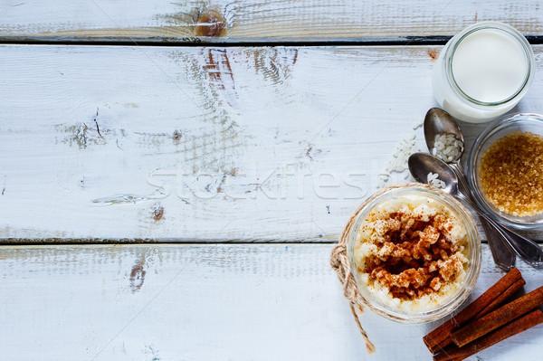 Kavanoz sütlaç rustik tablo mason pişirme Stok fotoğraf © YuliyaGontar