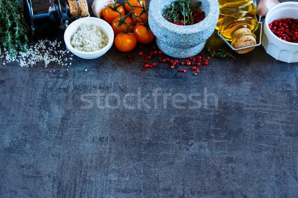 Specerijen balsamico azijn olijfolie kleurrijk Stockfoto © YuliyaGontar