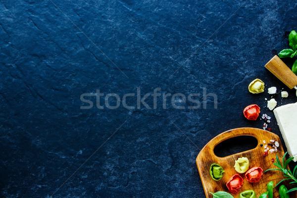 итальянской кухни Top мнение домашний пасты Пельмени Сток-фото © YuliyaGontar
