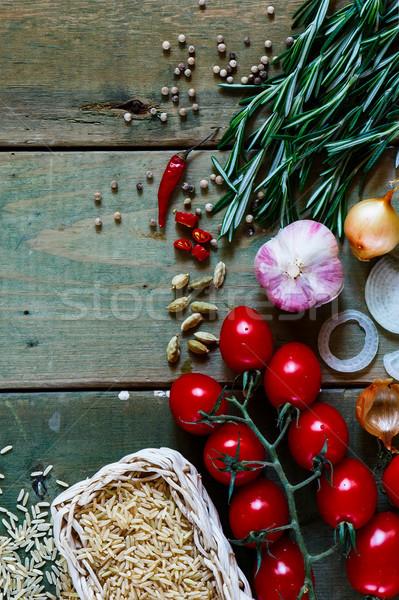 Stok fotoğraf: Kahverengi · pirinç · taze · sebze · baharatlar · otlar · rustik
