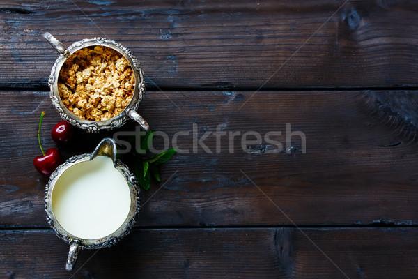 グラノーラ ミルク 桜 朝食 表 新鮮な ストックフォト © YuliyaGontar