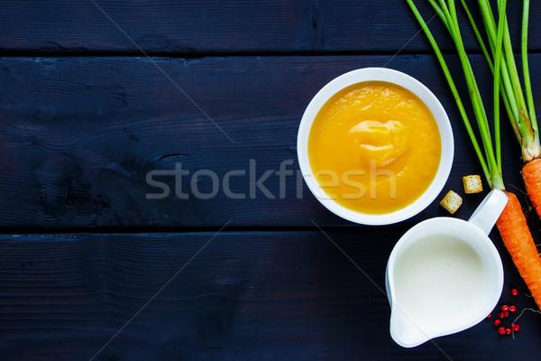 Cremoso sopa de legumes tigela escuro cópia espaço Foto stock © YuliyaGontar