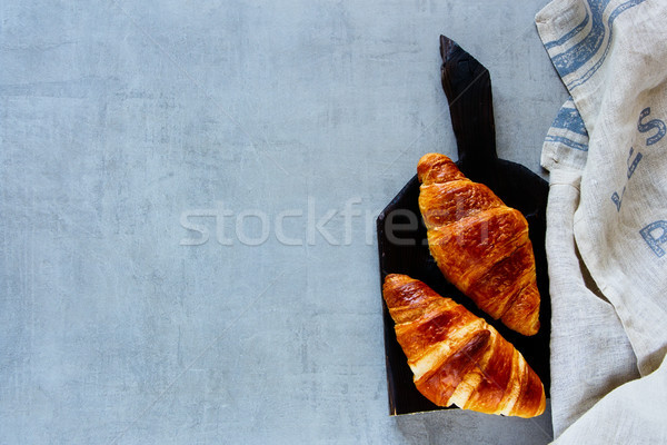 Fresh baked croissants Stock photo © YuliyaGontar