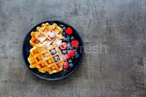Belgian soft waffles Stock photo © YuliyaGontar