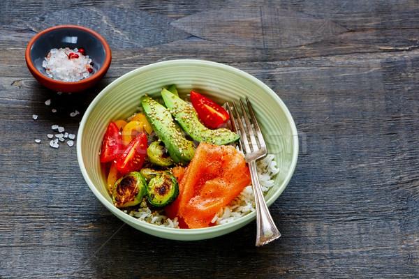 Buda güç çanak vejetaryen yemek masası avokado Stok fotoğraf © YuliyaGontar
