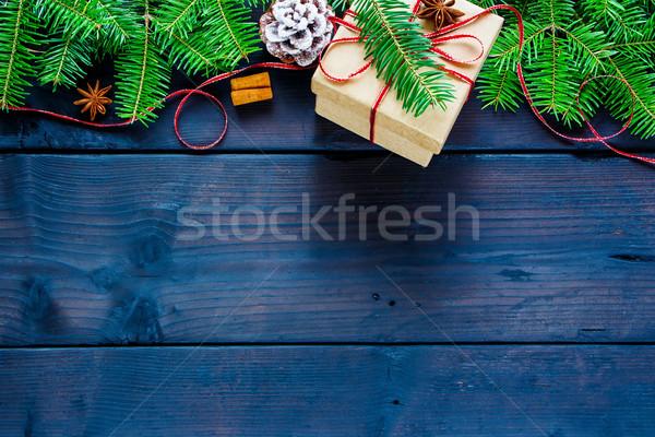 Foto stock: Navidad · caja · de · regalo · decoración · rústico · superior · vista