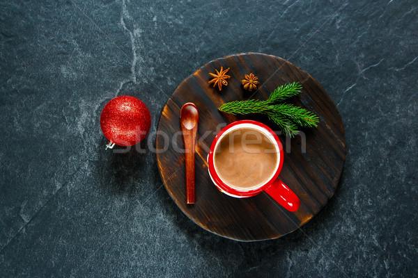 Kış sıcak çikolata Noel yılbaşı kırmızı kupa Stok fotoğraf © YuliyaGontar
