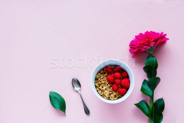 花 グラノーラ 美しい 新鮮な ラズベリー 朝食 ストックフォト © YuliyaGontar