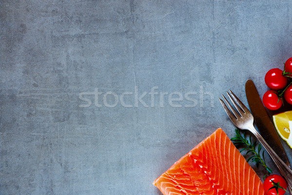 Delicious raw salmon Stock photo © YuliyaGontar