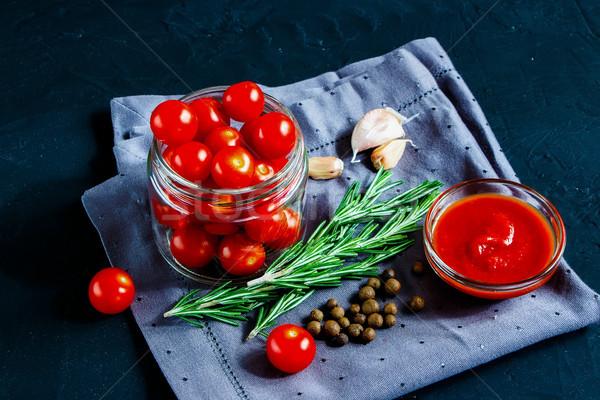 Cocina tomate cherry salsa saludable ingredientes Foto stock © YuliyaGontar