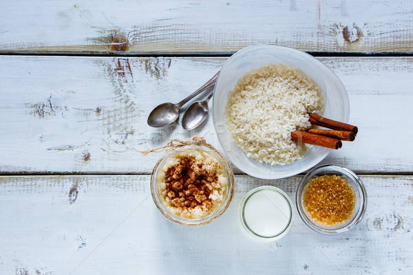 Stock photo: Jar of rice pudding