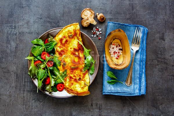 Mushroom omelette and salad Stock photo © YuliyaGontar