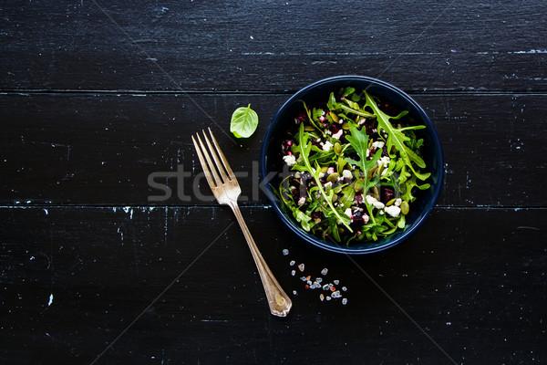 Cékla salátástál egészséges fetasajt tökmag saláta Stock fotó © YuliyaGontar