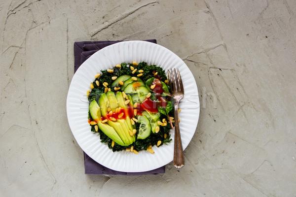 Stok fotoğraf: Yeşil · vegan · salata · taze · plaka · avokado