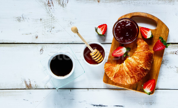 Rural breakfast with croissant Stock photo © YuliyaGontar