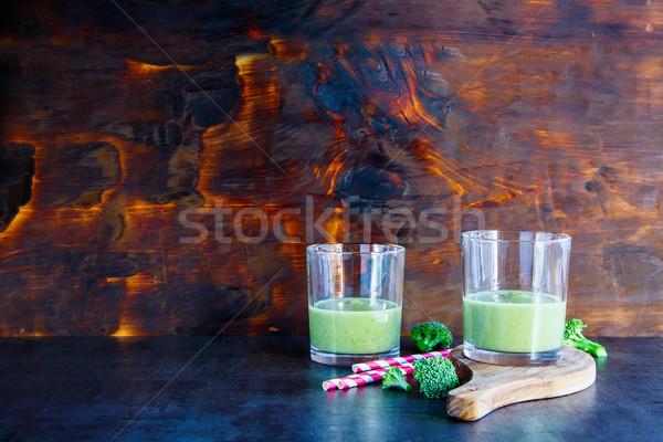新鮮な グリーンスムージー 眼鏡 暗い ボード 木製 ストックフォト © YuliyaGontar