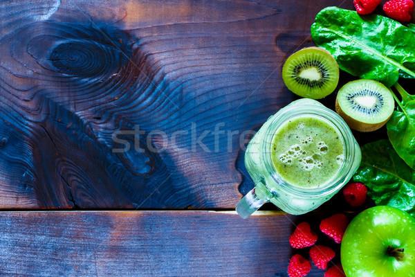 健康 グリーンスムージー 先頭 表示 材料 暗い ストックフォト © YuliyaGontar