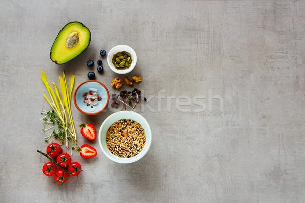Hozzávalók egészséges étel tiszta eszik gyümölcs zöldség Stock fotó © YuliyaGontar