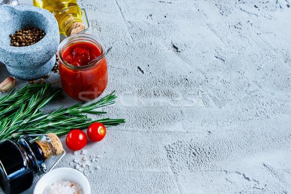 приготовления здорового томатном соусе оливкового масла бальзамического уксуса специи Сток-фото © YuliyaGontar