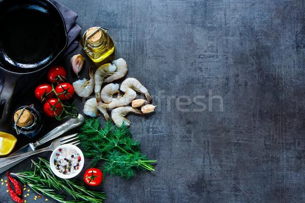 свежие морепродуктов Top мнение сырой Ингредиенты Сток-фото © YuliyaGontar