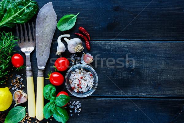 Stok fotoğraf: Taze · sebze · mutfak · bağbozumu · çatal · bıçak