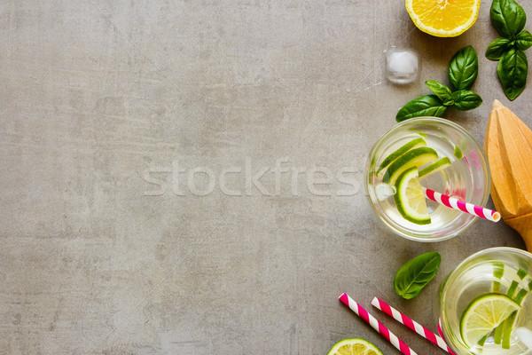 Sağlıklı ev yapımı limonata yaz soğuk Stok fotoğraf © YuliyaGontar
