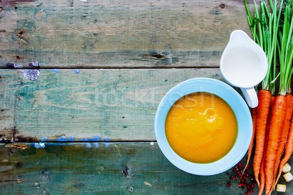Vegetal creme sopa tigela velho Foto stock © YuliyaGontar