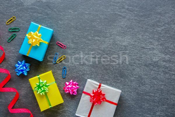 Stock fotó: Színes · ajándékdobozok · ajándék · ajándék · dobozok · irodaszerek