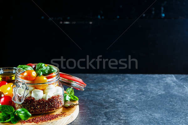 салат Капрезе здорового банку зрелый помидоры черри мини Сток-фото © YuliyaGontar