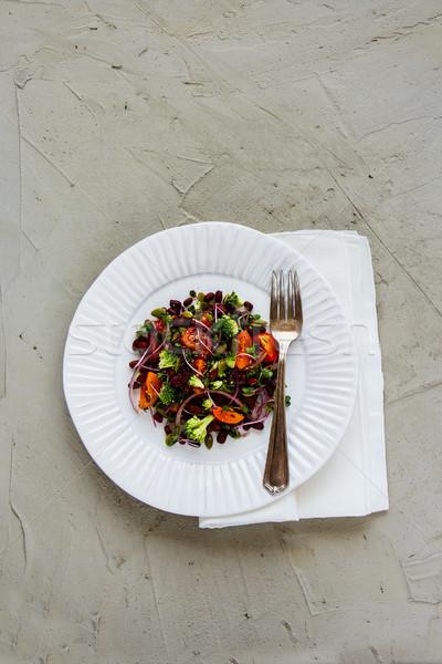 Vegan energia saláta fekete bab brokkoli Stock fotó © YuliyaGontar