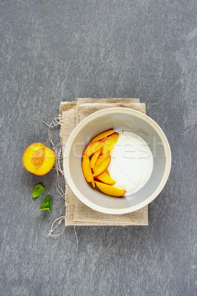 Foto stock: Iogurte · pêssego · café · da · manhã · naturalismo · fresco · tigela