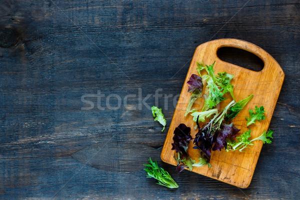 健康 サラダ まな板 素朴な ヴィンテージ 木製 ストックフォト © YuliyaGontar