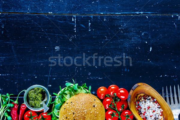 Green veggie sandwich Stock photo © YuliyaGontar