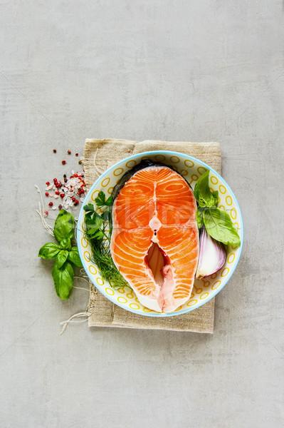 Brut saumon steak ingrédients poissons mer Photo stock © YuliyaGontar