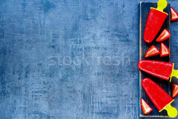 Eper szörbet fagylalt friss bogyók öreg Stock fotó © YuliyaGontar