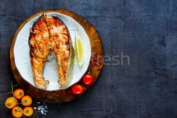 Grilled salmon steak Stock photo © YuliyaGontar