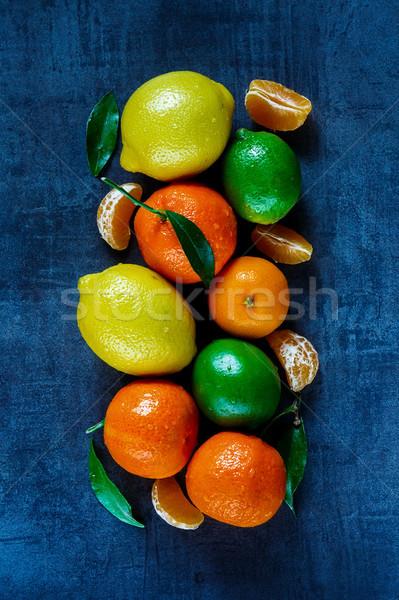 Frutti foglie top view fresche Foto d'archivio © YuliyaGontar