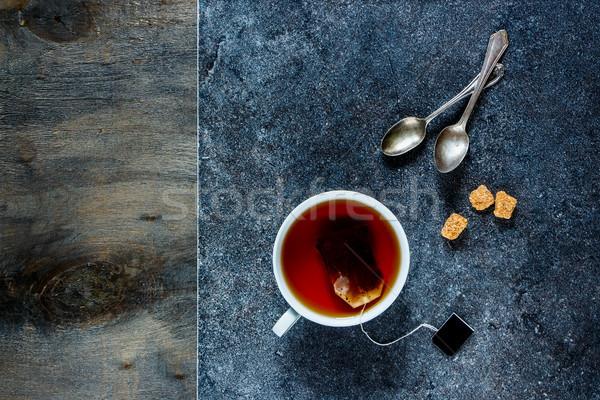 Tasse thé pierre vintage bois Photo stock © YuliyaGontar