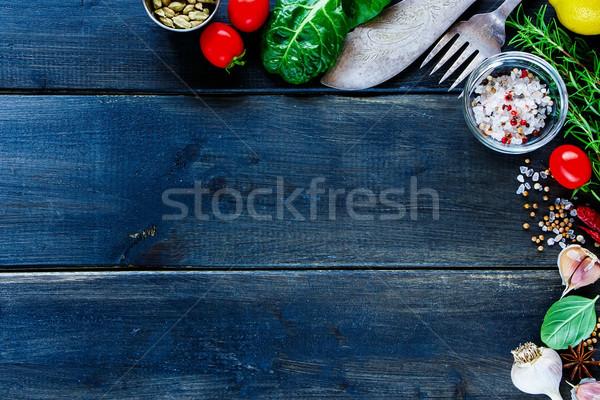 Stok fotoğraf: Taze · sebze · üst · görmek · pişirme · ayarlamak