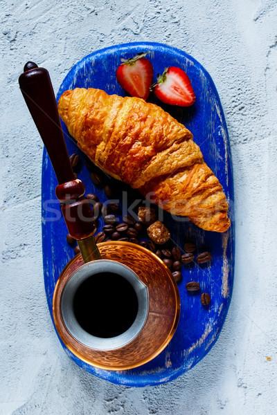 Ontbijt ingesteld top Blauw Stockfoto © YuliyaGontar