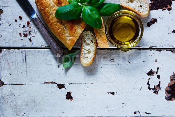 Baguette with basil Stock photo © YuliyaGontar