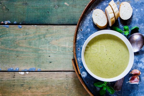 自家製 緑 スープ ブロッコリー クリーム 白 ストックフォト © YuliyaGontar