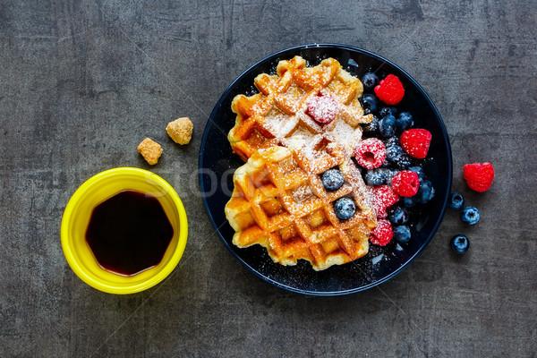 Stok fotoğraf: Yumuşak · kahvaltı · ayarlamak · ev · yapımı · meyve · siyah