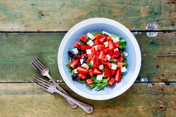 ストックフォト: 夏 · スイカ · サラダ · 健康 · フェタチーズ · 新鮮な