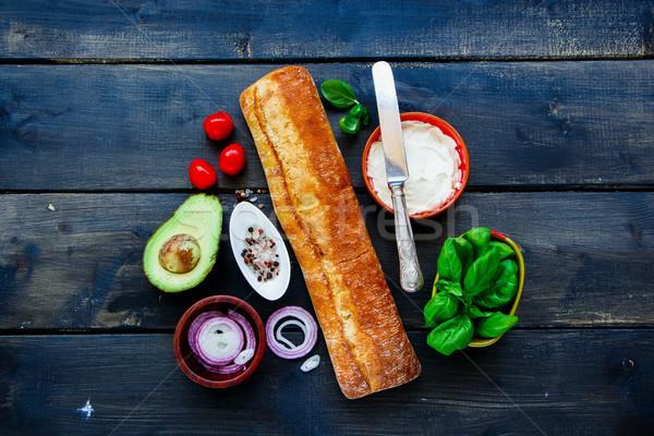 Ингредиенты Бутерброды багет свежие вегетарианский Сток-фото © YuliyaGontar