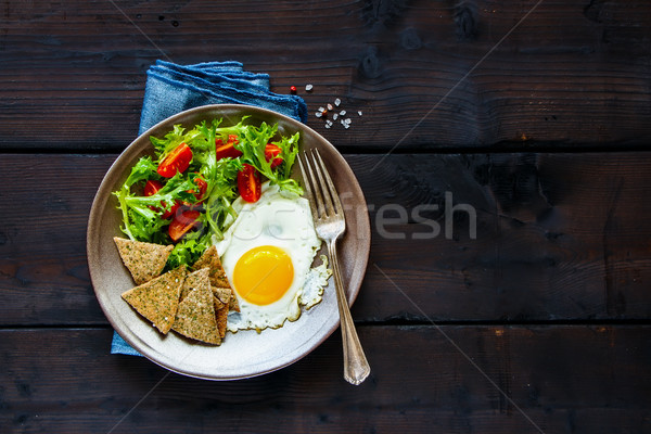 Stock photo: Breakfast plate with egg